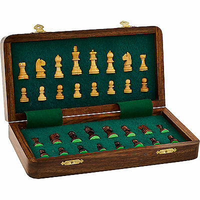Handcrafted Luxury Wooden Carved Magnetic Folding Chess Set Vintage Travel Case