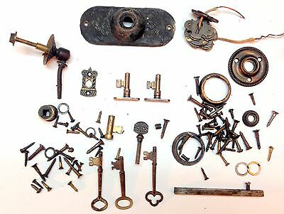 Lot of Antique Vintage Door Hardware keys, key holes, screws, doorbell etc
