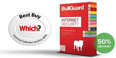 BullGuard Internet Security 2016 3 PC's 1 Year License Key