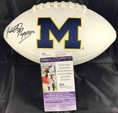 JABRILL PEPPERS signed Football MICHIGAN WOLVERINES White Panel JSA Authentic