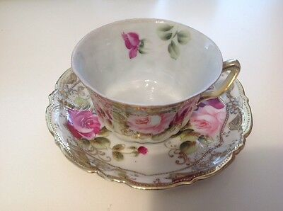 Nippon Vintage Tea Cup and Saucer,Rose Pattern with Raised Gold Tone Handpainted
