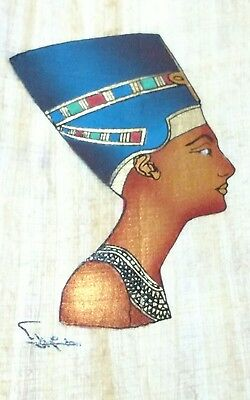 Original Egyptian Papyrus, Queen Nefertiti, Handmade painting 12 x 16 Cm