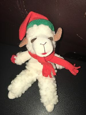 Lamb Chop Finger Puppet Green And Red Scarf And Hat