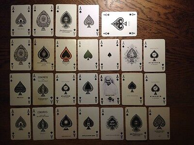 Playing card ace, vintage selection x 26