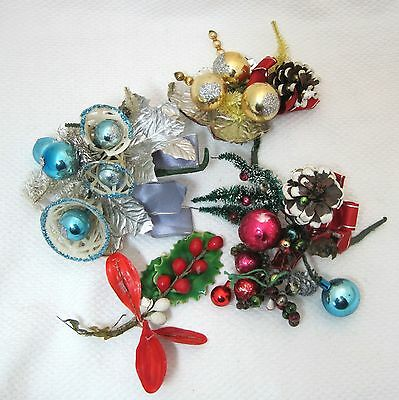 Vintage Lot 4 Christmas Corsage Sugar Bells Mercury Glass Beads Holly Cones  T10