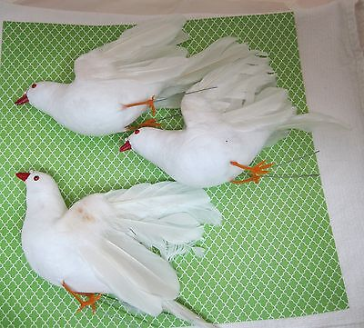 Lot 3 Vintage Spun Cotton Doves Millinery Birds Wedding Christmas Real Feathers