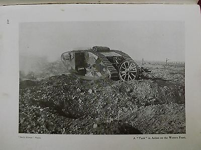 Ww1 War Record Illustration 1914-1918 A Tank In Action On The Western Front