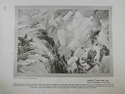 Ww1 War Record Illustration 1914-1918 Austrian Troops Swept Away By Avalanche