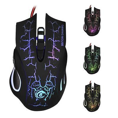 New 6D LED Optical USB Wired 5500 DPI Pro Game Mouse For Laptop PC Gaming Black