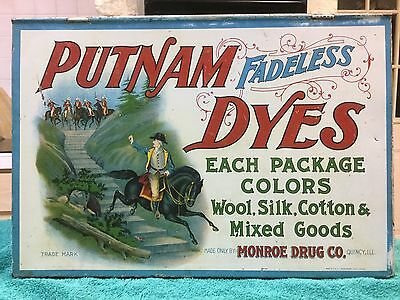 Putnam Fadeless Dyes Lithograph Tin Wood Advertising Store Display Cabinet Case