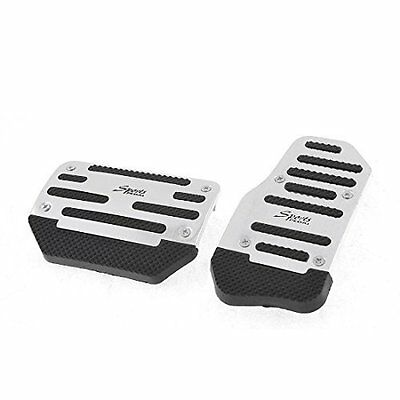 sourcingmap Car Automatic AT Gas Brake Metal Pedal Covers Silver Tone Black 2 Pc