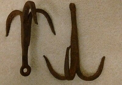 2 Antique Hand Forged IRON 3 PRONG GRAPPLING HOOKS