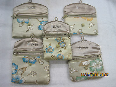 Lot of 5 Honora Collection Jewelry Coin Money Floral Satin Bags