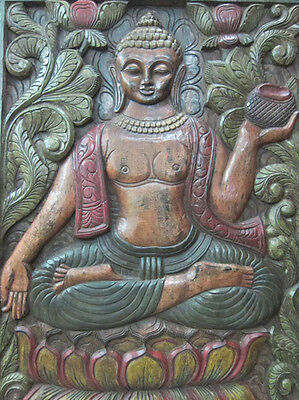 Antique Earth Touching Buddha Carving Wood Wall Hanging Indian Furniture