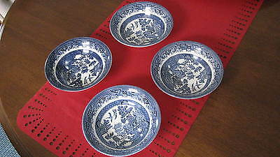 """Set of 4 CHURCHILL ENGLAND """"BLUE WILLOW"""" CEREAL SOUP SWEETS BOWLS"""