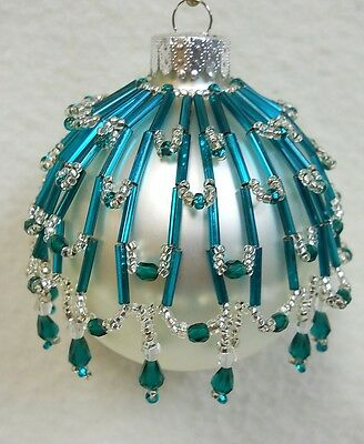 """PATTERN ONLY Beaded Christmas Ornament Cover Holiday Original """"Tahoe"""""""