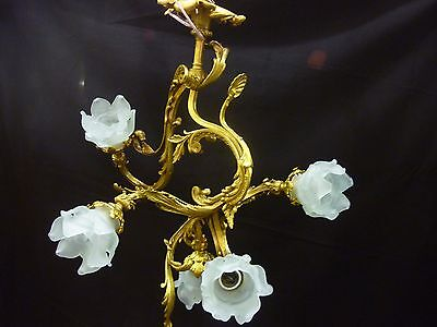 Antique Chandalier Of Bronze Luis Xv With Five Lights