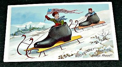 ORIGINAL 1890's Woonsocket Artic Shoes and Boots Sledding & Flag Trade Card