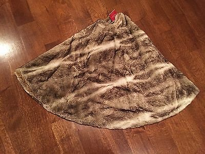 """New! Pottery Barn CARAMEL OMBRE Faux Fur Christmas Holiday 60"""" Tree Skirt"""