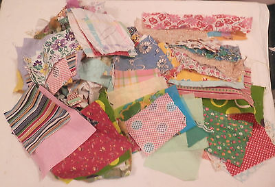 Huge Lot Vintage Feed Sack & Cotton Fabric Pieces Scraps Quilting Craft