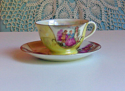 Vintage Yellow Tea Cup/Saucer with Couple Image