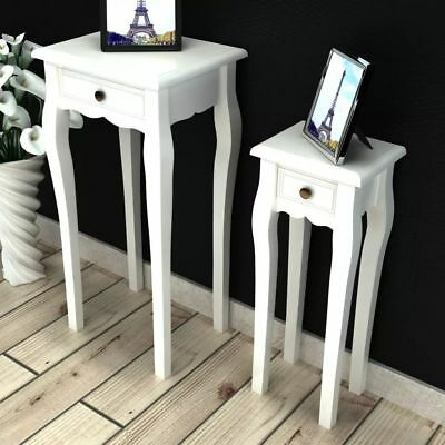 White Telephone Side Table with Drawer 2 Sizes End Table Plant Nightstand