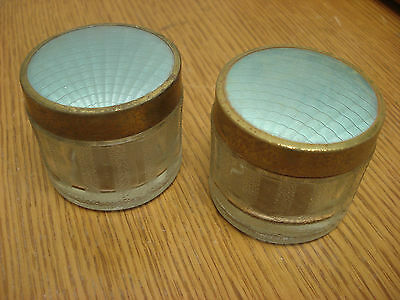 Pair of Vintage TURQUOISE Canadian VANITY ACCESSORIES Dominion Powder Jars S1