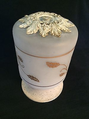 Vintage Hall/Porch Ceiling Light Fixture Frosted White with gold colored leaves