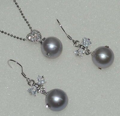 Near round gray 10-11mm furrow FWpearlpendantnecklace earring