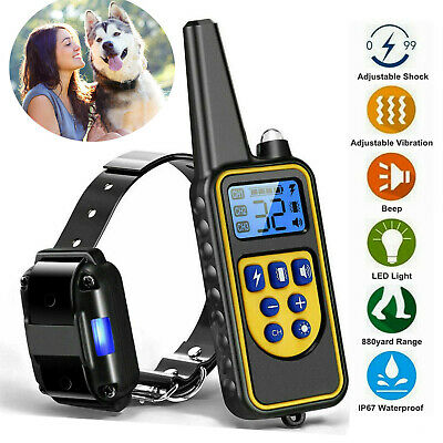 880 Yard Dog Shock Collar Electric Remote Waterproof Pet Training Bark Trainer