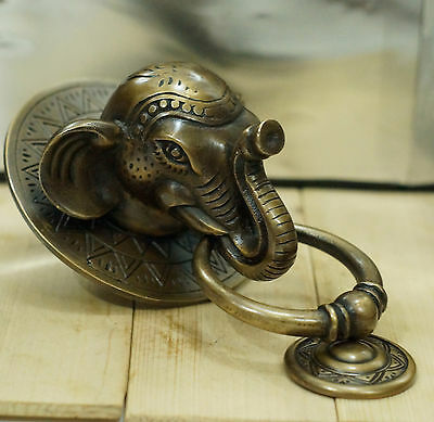 Antique BIG ELEPHANT Animal Figurine Head Door Knocker Vintage Solid Brass