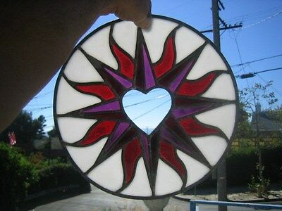 "leaded stained glass round window hanging floral patern & heart 12"" round"