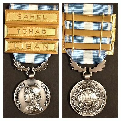 Medal France French Overseas Campaign Medal With 3 Bars Pristine Condition