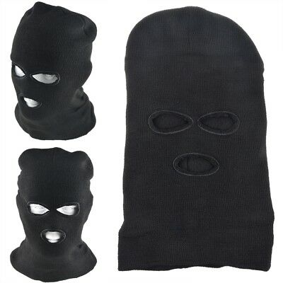 1639e991563a7 3 Hole Face Mask Winter Beanie Ski Snowboard Hat Cap Wear Balaclava Black  Warm