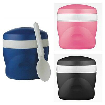 Thermos Double Wall 8 oz Snack Jar Travel Soup Bowl w/ Spoon Black, Blue, Pink