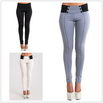 New Womens Skinny Slim Leggings Jeggings Stretch Ankle TrousersSize 6 8 10 12