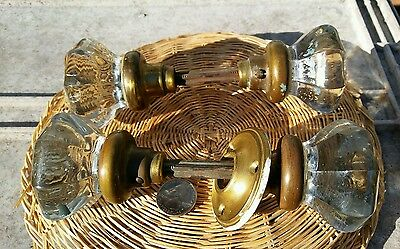 Matching Pair Antique Vintage Crystal Glass Door Knobs .