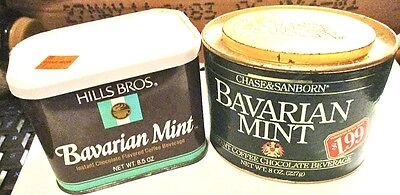 2~1980s Chocolate-Coffee Containers=Bavarian Mint by Hills Bros & Chase/Sanborn