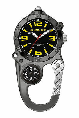 """Leatherman Analogue Watch Yellow Numbers And Compass """"free Postage"""" Ylw21Blk"""