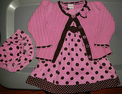 Infant Baby Girl Gymboree Polka Dot Puppy pink dress & sweater size 6-12 months