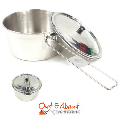 Mess Kit Lunch Box Portable Camping Food Storage Container Stainless Steel 14cm