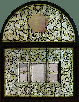 Antique American 2pc Stained Glass Landing Set