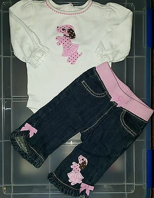 Infants Baby girl Gymboree Pink Polka Dot Puppy outfit size 3-6 months shirt