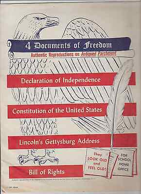 SALN!EW 4 DOCUMENTS OFFREEDOM,Authentic Reproductions on Antiqued Parchment,1956