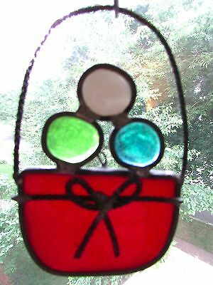 leaded stained glass basket sun catcher art glass vintage-pre 1960 hand crafted