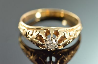 14K Antique Gypsy 0.30 CT Diamond Detailed Engagement Ring Yellow Gold