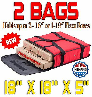 "18"" x 18"" x 5"" Red NYLON Insulated Thermal Food Pizza Delivery Bag, 2 BAGS"