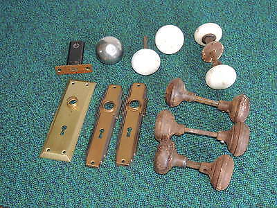 Lot of Antique ~ Ceramic Door Knob Knobs and Face Plate Faceplate