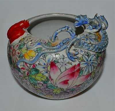 Antique Chinese Porcelain Millefluer Dragon and Bat Jar Bowl AS IS