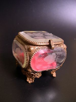 Antique French Victorian Beveled Etched Glass Brass Ormolu Footed Trinket Box